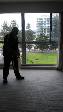 pre-spraying a bedroom