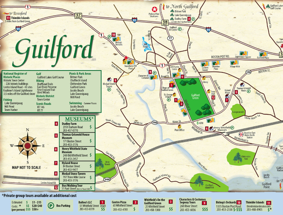 Shoreline Chamber Of Commerce Tourism Map Of Guilford - Road map of ct