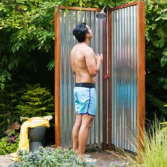 solar powered outdoor showers are becoming more common these days as folks have begun to realize just how easy it is to use the sun to heat water