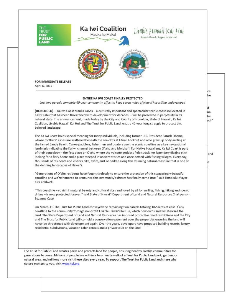 Ka I wi coast protected letter