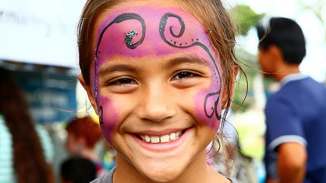 Girl with her face painted