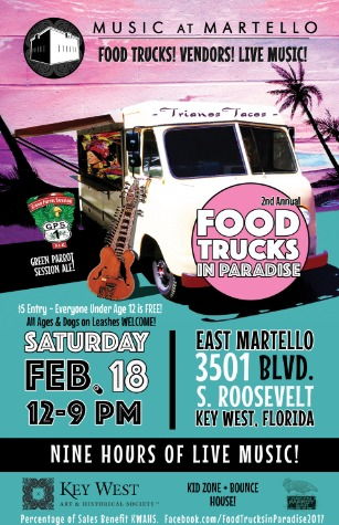 Marky Pierson Wonderdog Studios Design - Key West Art & Historical Society: Music at Martello Food Trucks in Paradise Poster