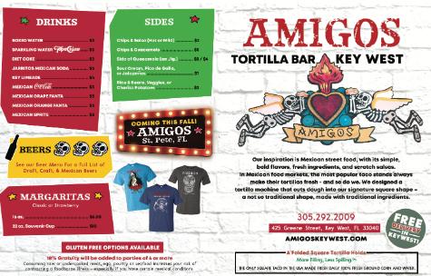 amigos tortilla bar, amigos key west, amigos st. pete, wonderdog studios, menu styling, menu design, graphic design