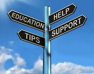 Education, Tips, Help, Support Sign