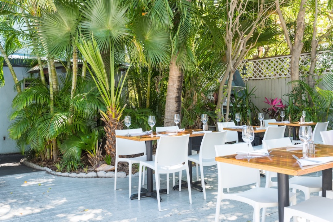 lush, tropical, and comfortable outdoor seating available at the blackfin bistro