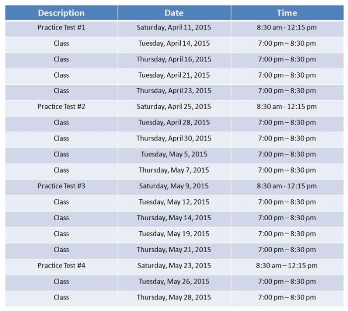 SurferMath - Spring 2 SAT Class Schedule