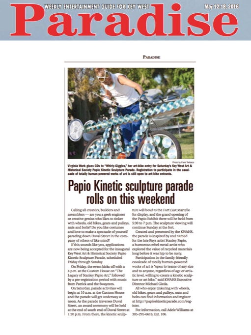 Paradise Newspaper Article on  Papio Kinetic Sculpture Parade