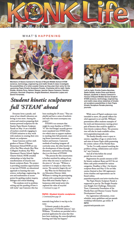 Konk Life Article on Student Kinetic Sculptures