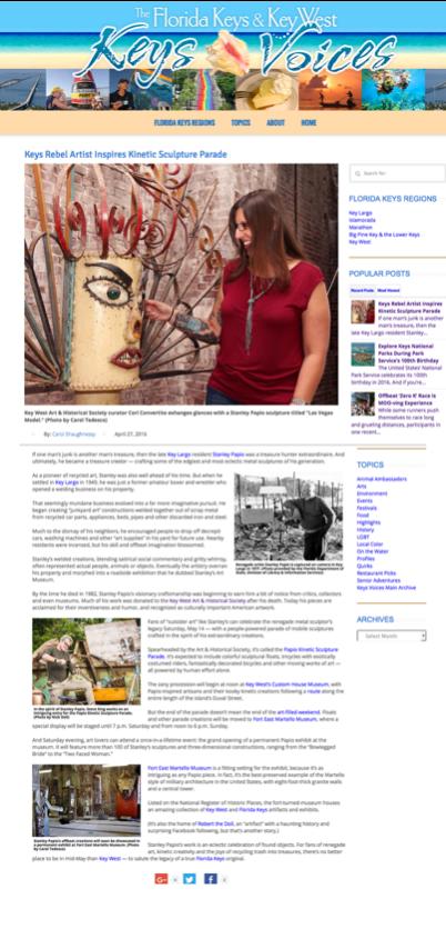 Keys Voices Article - Kinetic Sculpture Parade