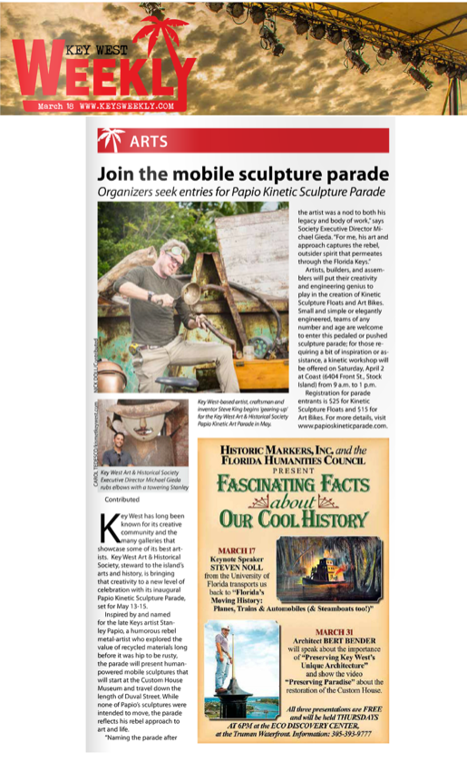 Key West Weekly Clipping Kinetic Sculpture Parade