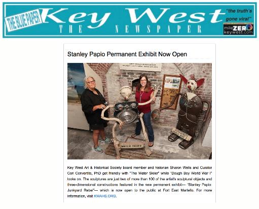 Stanley Papio Permanent Exhibit Open - Blue Paper Article